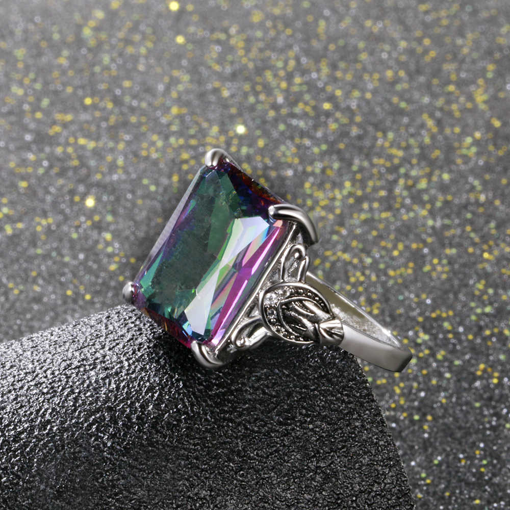 12x16MM Charm สี่เหลี่ยมผืนผ้า Rainbow Topaz VINTAGE 925 แหวนเงินแท้แหวนพลอยปาร์ตี้ขายส่งของขวัญครบรอบ 5.3G