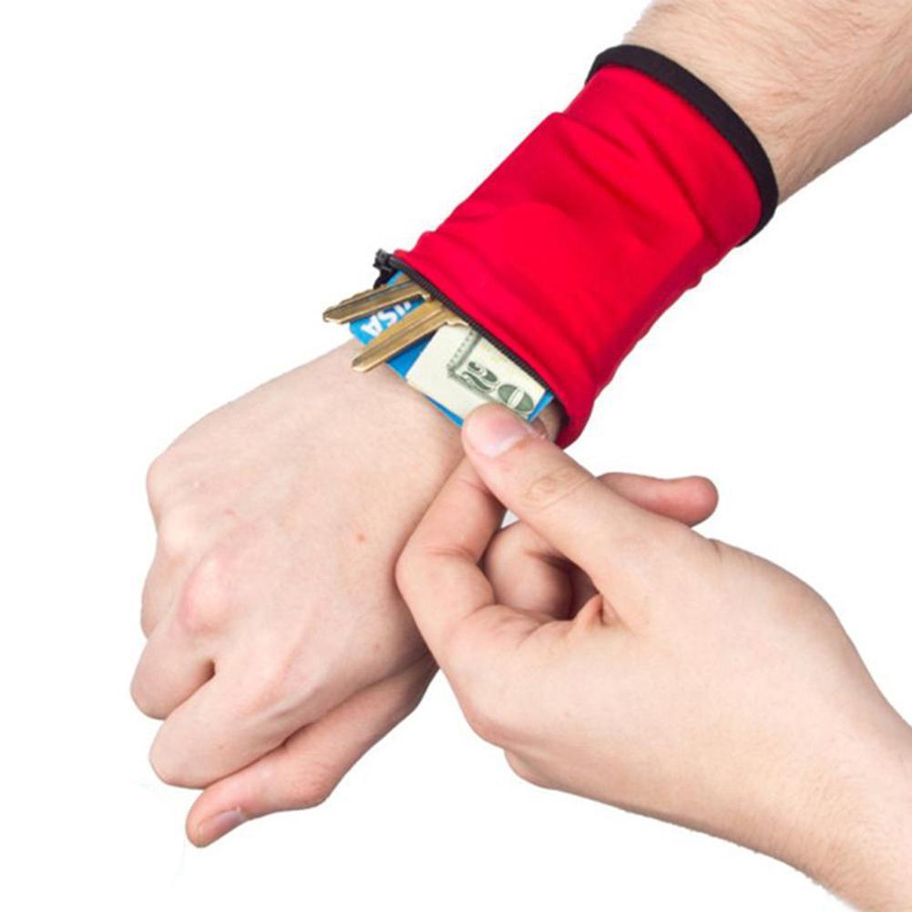Unisex Wrist Wallet Pouch Band Fleece Zipper Running Travel Gym Cycling Safe Sport Wrist Band Bag Coin Key Storage Lightweight