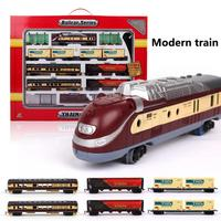 Electric Racing Rail Car Kids Track Train Model Toy Baby Railway Train Racing Road Transportation Building Sets Toys Kids