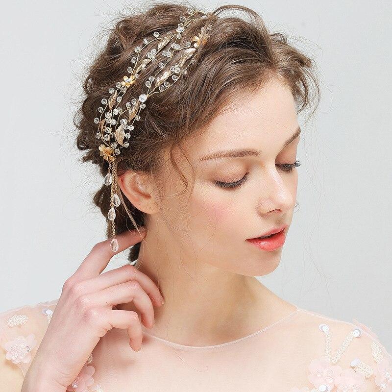 Vintage feuilles d'or bandeau cheveux accessoires fait à la main perlé mariage casque femmes Costume fête coiffure bijoux cadeaux