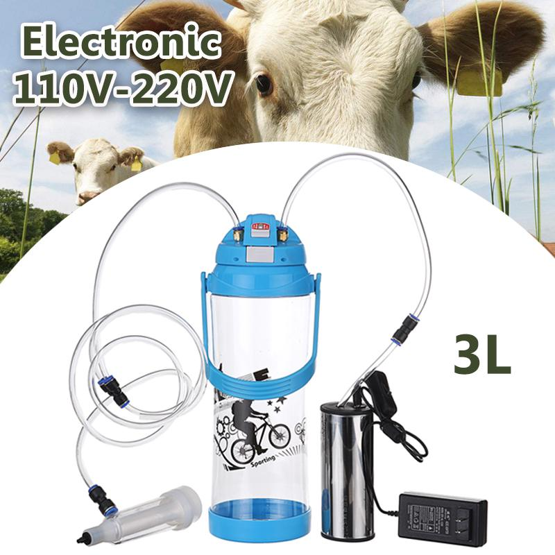 Electric Milking Machine 3L 0.8 Gal Single Head Farm Milk Bottle Vacuum Pump Bucket Milker Barrel AC 110V-220V Sheep Goat CowElectric Milking Machine 3L 0.8 Gal Single Head Farm Milk Bottle Vacuum Pump Bucket Milker Barrel AC 110V-220V Sheep Goat Cow