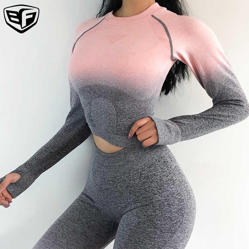 Тренажерный зал Топ Для женщин дамы фитнес топы sexy бесшовным энергетика йоги с длинным рукавом тренировки рубашка высокие эластичные Акула, пригодный Бесплатная доставка
