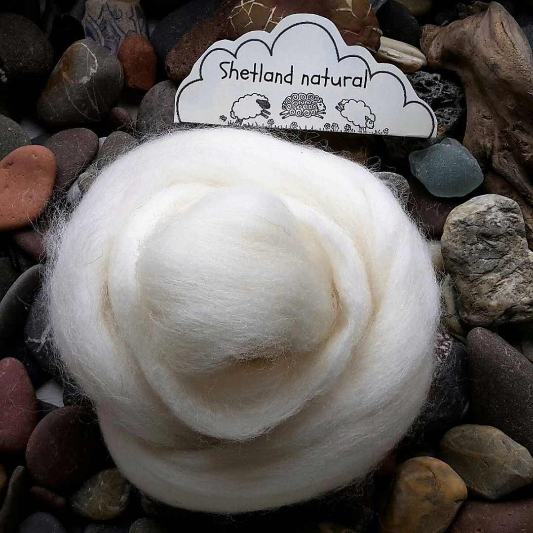100g Shetland Natural White Wool Top Roving For Needle Felting Hand Spinning DIY