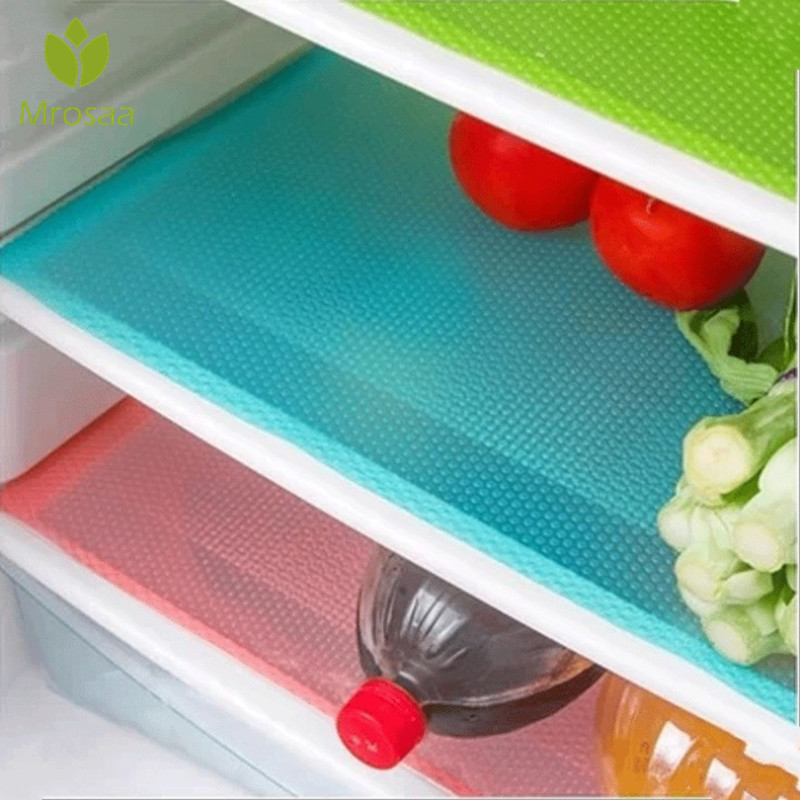 4pcs/set Refrigerator Pad Antibacterial Antifouling Mildew Moisture Tailorable Pad Refrigerator Mats Fridge Waterproof Mat