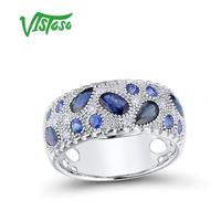 VISTOSO Gold Rings For Women Genuine 14K 585 White Gold Ring Sparkling Blue Sapphire Diamond Wedding Engagement Fine Jewelry