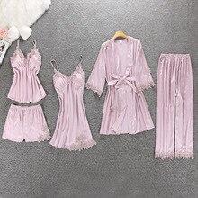 Bahar yeni 5 adet kadın pijama takımı Rayon ipek dantel seksi pijama göğüs pedi ile gecelik + pantolon + hırka seti pijama