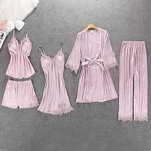 Spring New 5 Pcs Women Pajama Set  Rayon Silk Lace Sexy Pyjama  With Chest Pad Nightdress+Pant+Cardigan Set Sleepwear