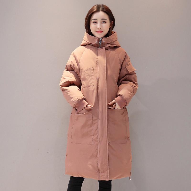 2019 г. Новая зимняя Корейская легкая кодовая длинная одежда Seta Lead с хлопковой подкладкой даже хлопковая куртка с капюшоном Свободное пальто - 2