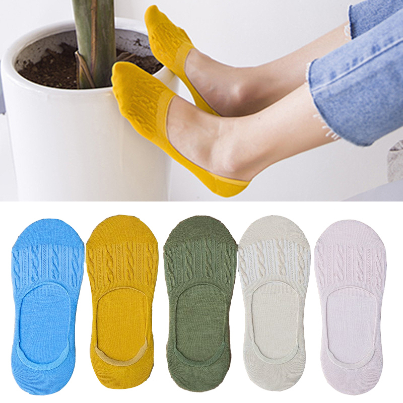 2019 New Hot Sale NEW Candy Color Invisible Non-slip Low Cut Socks Women Casual Cotton Breathable Ankle Boat Socks