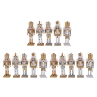 15Pcs 12cm Wooden Nutcracker Solider Figure Model Puppet Doll Handcraft for Children Gifts Christmas Home Office Decor Display
