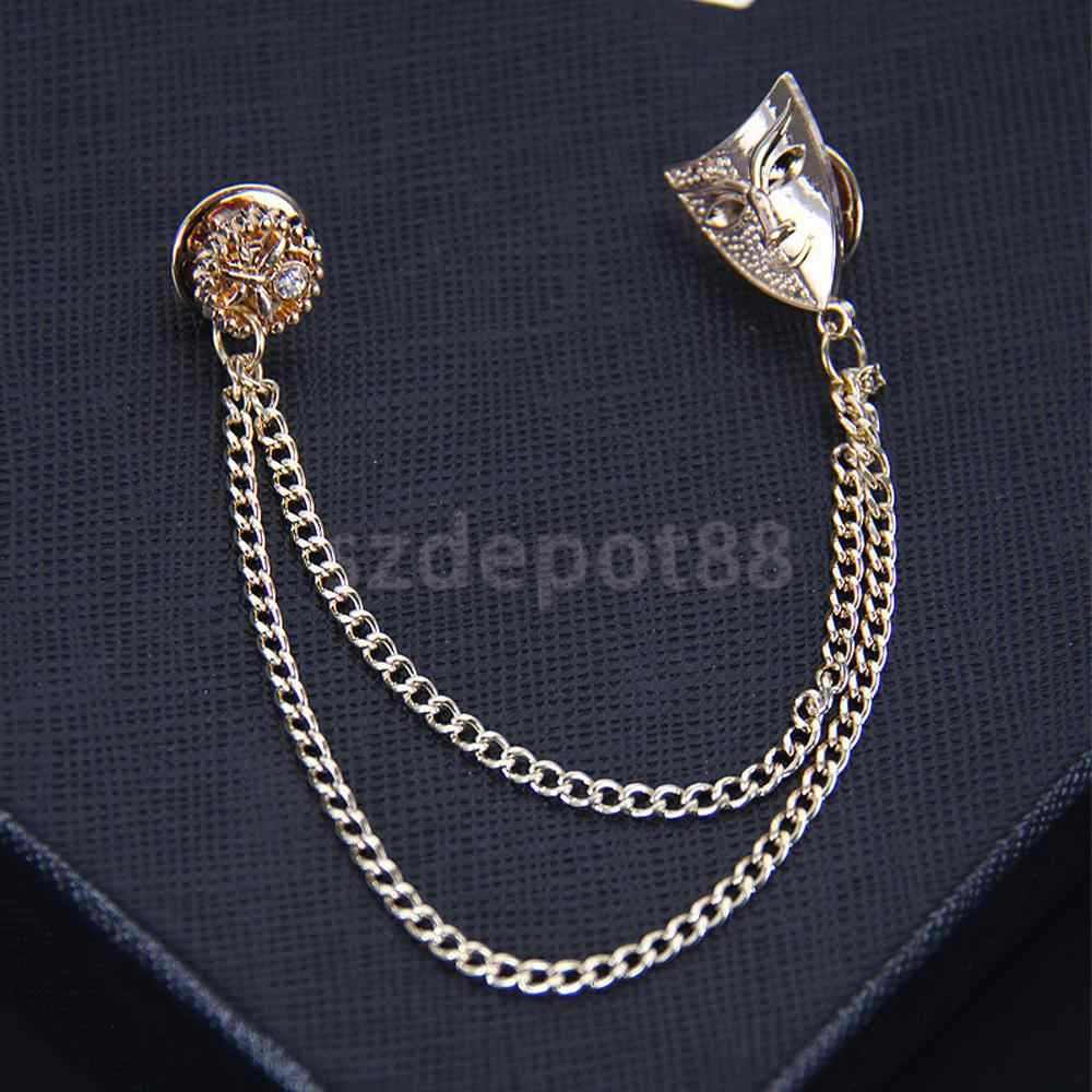 Gold Mask เสื้อคอคอเคล็ดลับเข็มกลัดโซ่คู่ Retro เครื่องประดับ