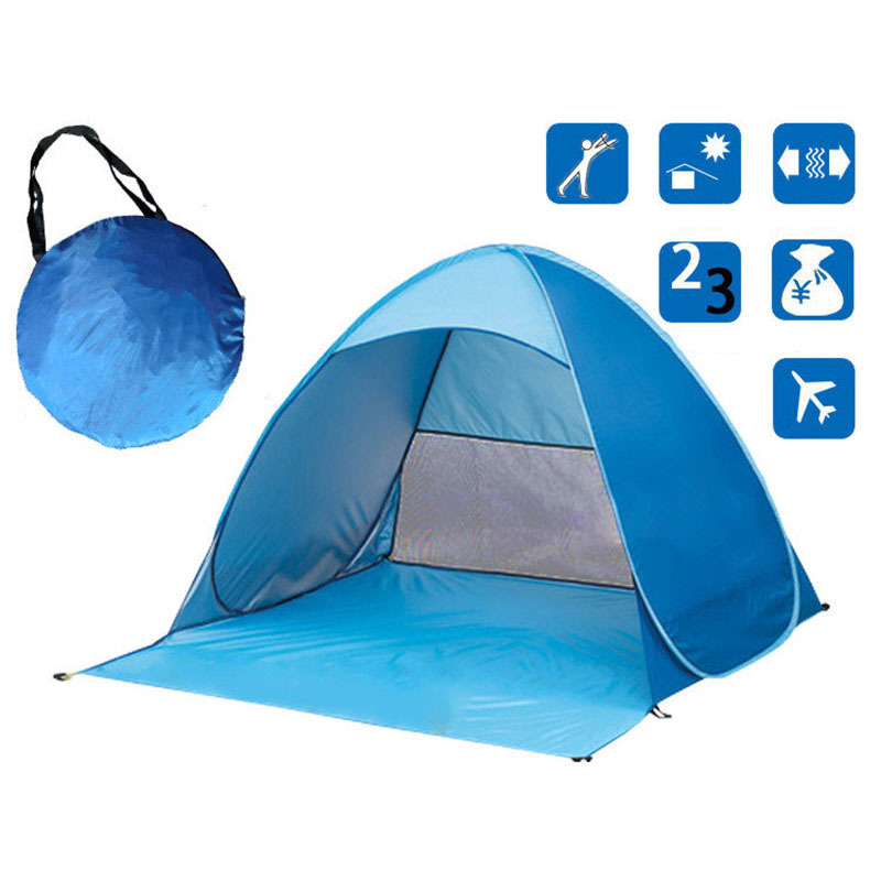 Anti-UV Quick Opening Automatic Beach Tent Sunshade Awning Pop Up Camping Fishing Tent 2Person Outdoor Summer Tent 165x150x110cm