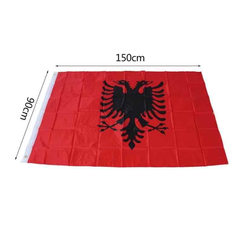 アルバニア双頭イーグル屋外屋内バナーアルバニア腕国旗パレード/フェスティバル/家の装飾 90*150 センチメートル