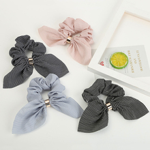 1PC New Rabbit Ear Striped Hair Accessories Elastic Band Rope For Women Girls Rubber Tie Scrunchies