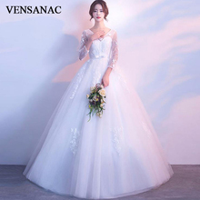 VENSANAC 2019 V Neck Lace Appliques Ball Gown Wedding Dresses Illusion Flowers Sleeve Bow Sash Backless Bridal Dress
