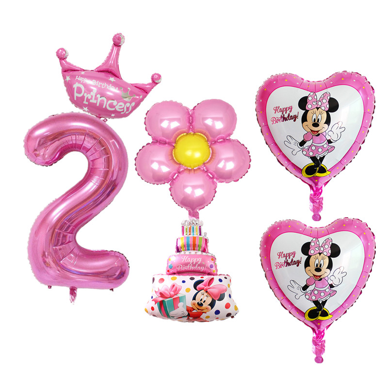 6pcs/set Baby Boy Girl 2nd Birthday Balloons Cake Digital 2 Foil Balloons For Kids 2 Years Old Happy Birthday Decor Air Balloons baby toys