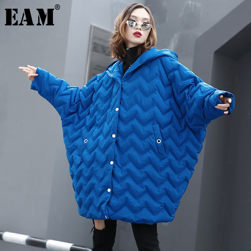 [EAM] 2019 New Spring Hooded Long Batwing Sleeve Large Size Cotton-padded Warm Coat Women   Parkas   Fashion Tide JK059