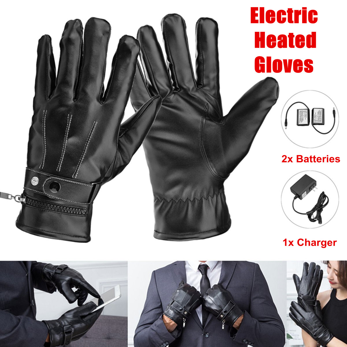 1 Pair Electric Heated Gloves Winter Thermal Skiing Gloves Unisex Black Bicycle Motorcycle Hands Warmer Rechargeable Battery