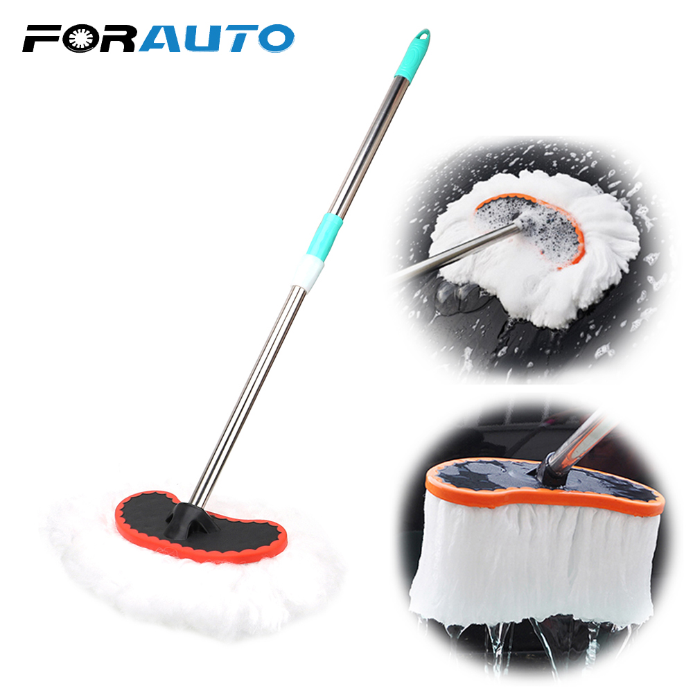 FORAUTO Car Wash Brush Automobiles Brushes Soft Milk Silk Mop Adjustable Telescopic Cleaning Tool Supplies Wiping Mop Auto Care