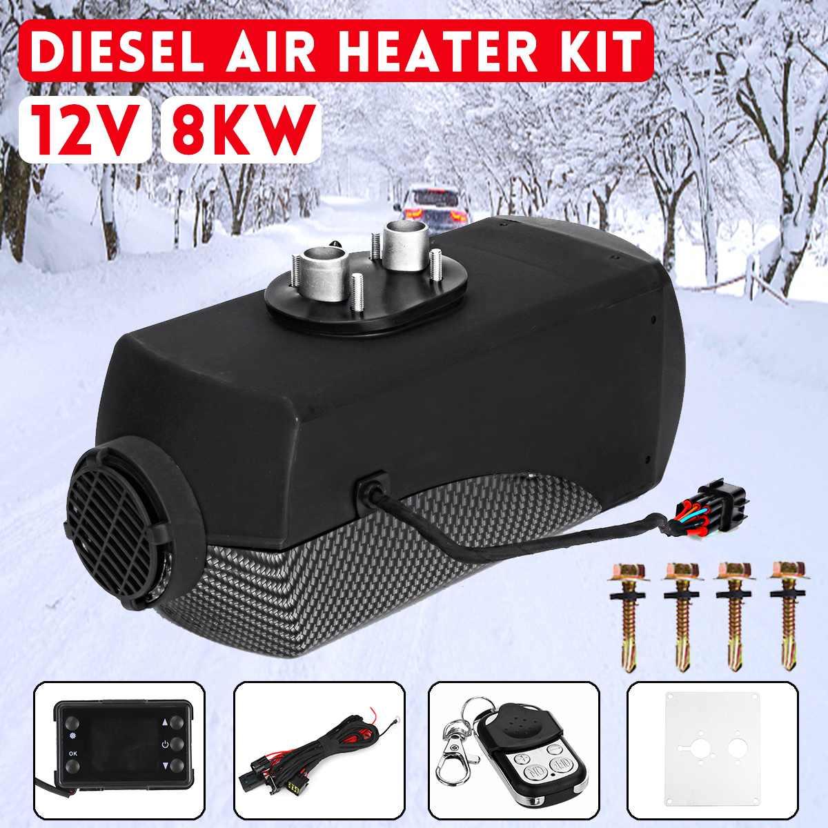 12 V 8000 W chauffage de voiture Diesel réchauffeur d'air 8KW noir LCD Thermostat télécommande pour voiture bateau RV camping-Car remorque camions plus récent