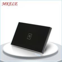 Сенсорный выключатель черная Хрустальная стеклянная панель стандарт