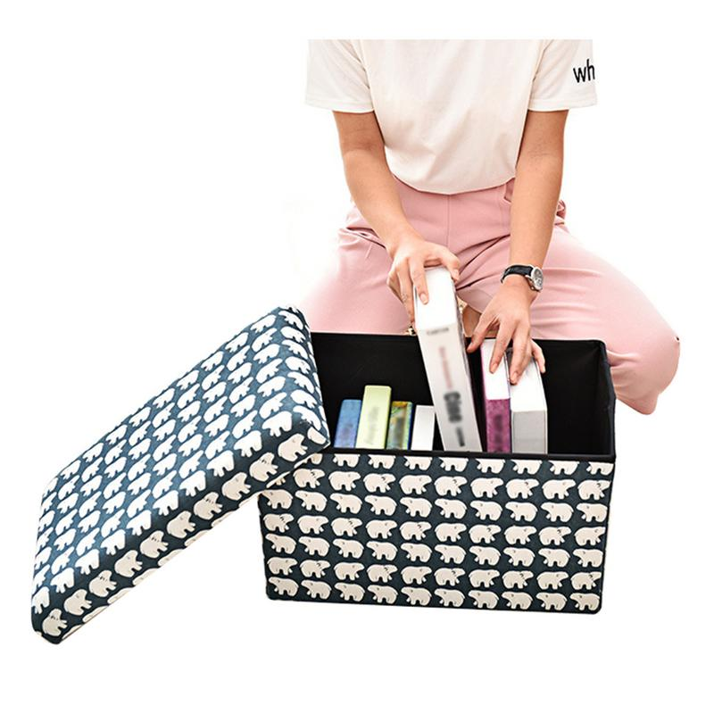 Tabouret de rangement en éponge boîte pliante multifonctionnelle repose-pieds divers boîte de rangement pour livres siège de tabouret avec organisateur pour banc de chaussures