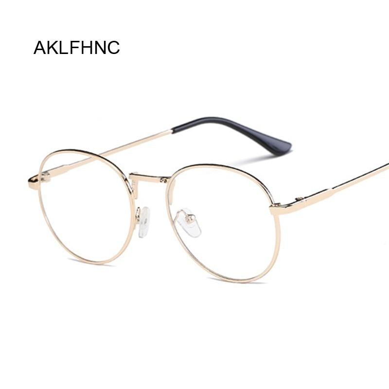 חדש אופנה גברים משקפיים מסגרת נשים משקפיים מסגרת 2019 בציר עגול ברור עדשת משקפיים אופטיים