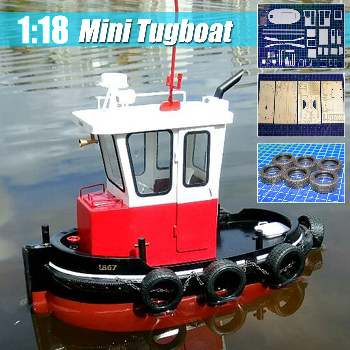 DIY 1:18 Boat Fishing Model Boat Wooden Electric Ship Building Kits Children Model Toys RC Simulation Tugboat