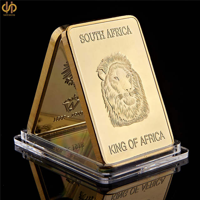 South Africa Gold Plated 1967 Fyngoud Fine Coin 100 Mills Thick In Bullion Bar
