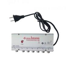 US Plug 1 in 6 out CATV TV Video Signal Amplifier AMP Antenna Signal Booster Splitter AC 220V 50-60Hz TV Antenna huiyishun ys 400 4 loads audio video amp splitter black ac 220v uk plug