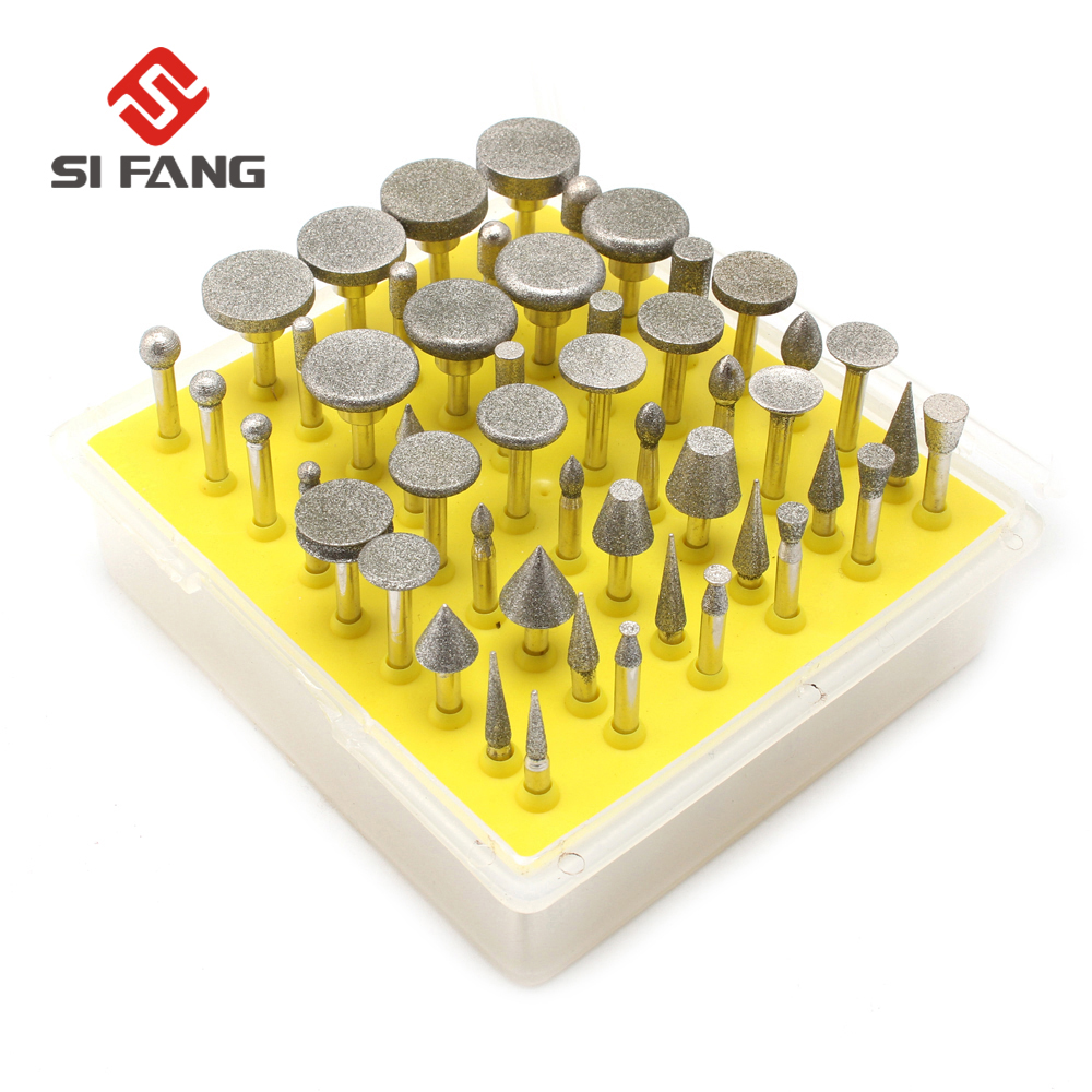 50pcs Diamond Grinding Head For Metalworking 3mm Shank Burrs Bit Dremel Rotary Tools