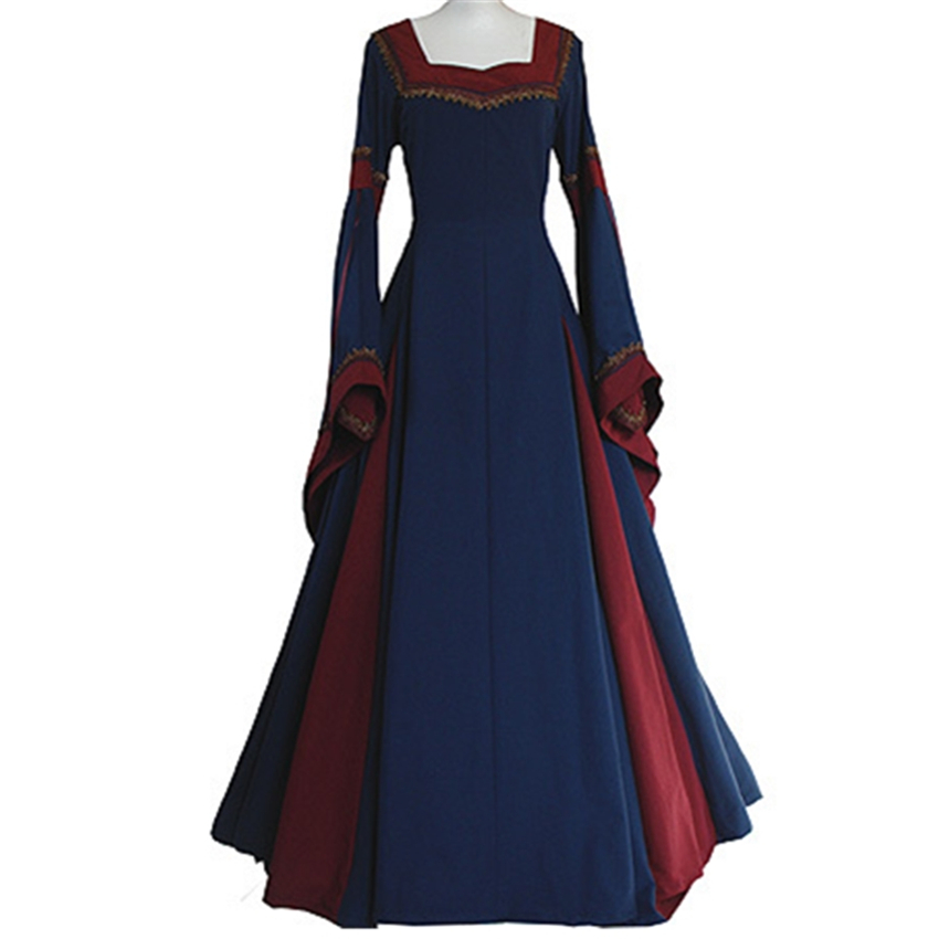 Medieval Costumes for Women Princess Vintage Dress Long Flare Sleeve Clothes Palace Carnival Wear Female Classical Retro Uniform