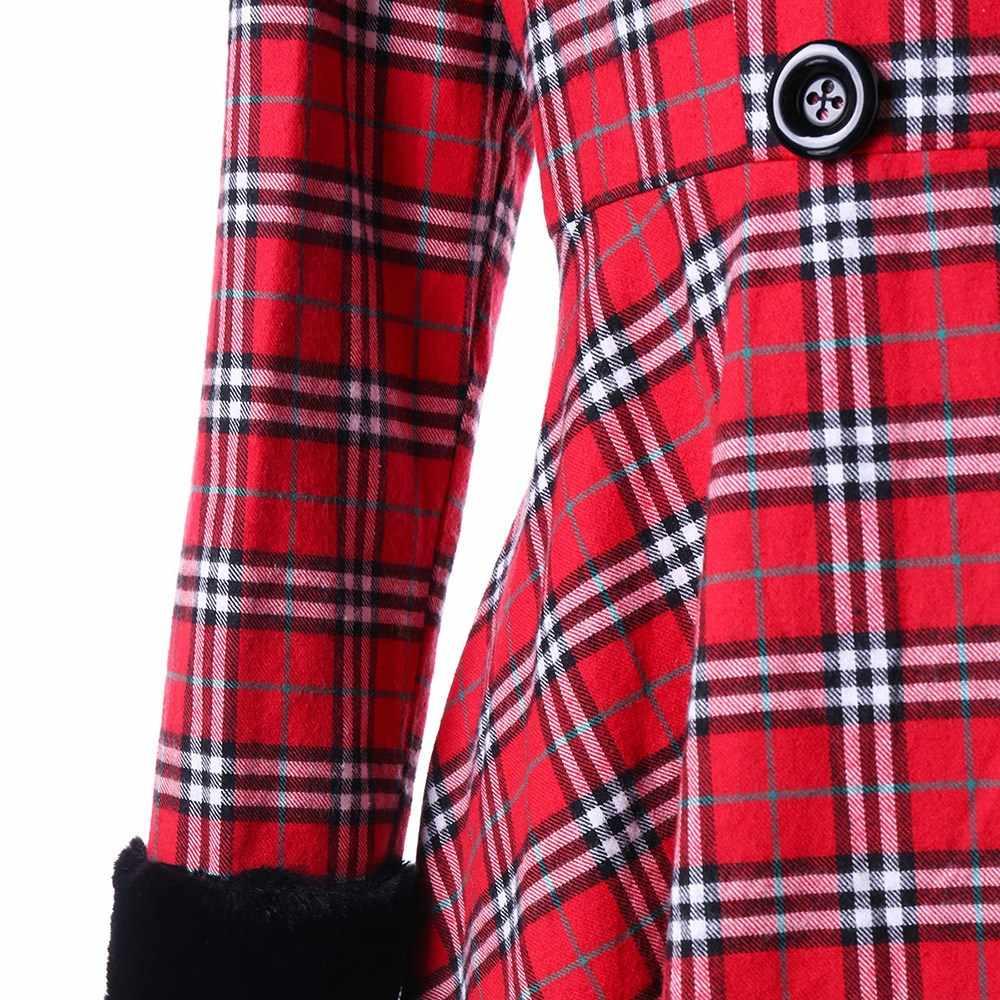 החורף משובץ צמר מעיל גדול נשים אסימטרית Swing Hem Slim מזויף פרווה צווארון הלבשה עליונה חם אלגנטי בציר ארוך מעילים