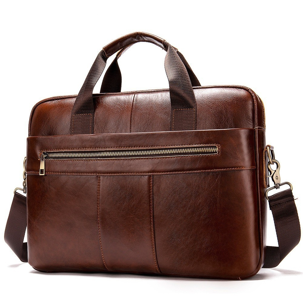 Men's Briefcase Handbags Computer-Bag Postman Business Vintage Genuine-Leather Male