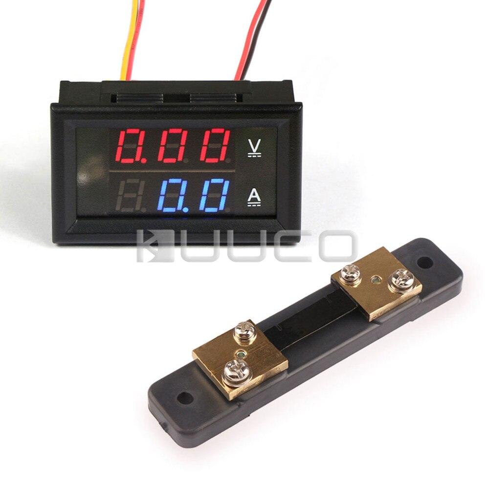 Dynamic 5 Pcs/lot Digital Voltmeter Ammeter Dc 0 ~100v/50a Voltage Current Meter/tester Dc 12v 24v Digital Meter With 50a Current Shunt Last Style Tools Instrument Parts & Accessories