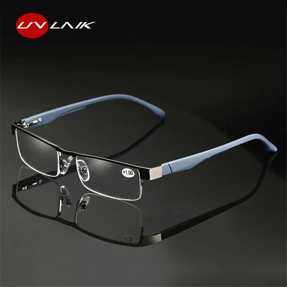 UVLAIK Alloy Reading Glasses Men High Quality Business Eyeglasses Hyperopia Prescription glasses +1.0 1.5 2.0 2.5 3.0 3.5 4.0