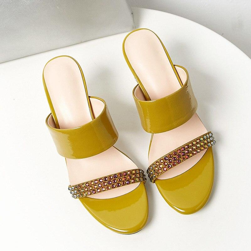 Verano Moda Fuera Zapatos Pu sordo Cristal Cuero Royalblue Dedo Tacones Nueva Primavera Pie Zapatillas yellow De Mujer Simple La Del Tide10sj684 Redondo 2019 Extraño 44wRSx6t