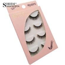 SHIDISHANGPIN 1 box natural fake eyelashes cruelty free 4 pairs 3d mink lashes full strip makeup thick eyelash