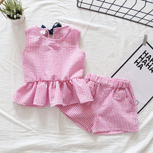 Childrens Clothing Summer Cotton 2019 New Sleeveless Plaid Girl Top + Shorts Ruffled Set baby girl clothes