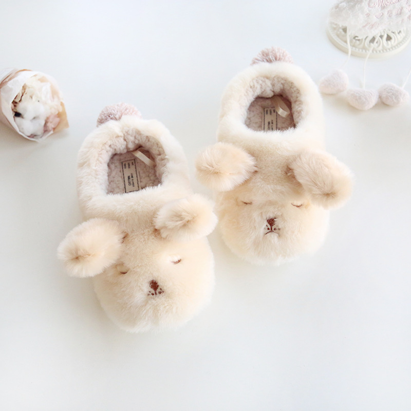 Dropshipping Winter Lovers Style Lovely Animal Plush Slippers for Home Men&Woman Shoes Dog Shape Soft Warm Fluffy Slipper Fit image