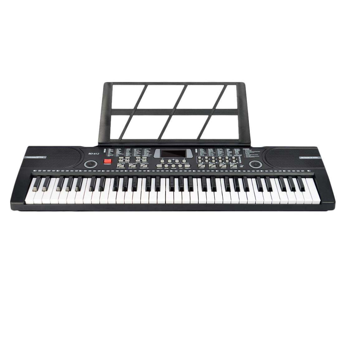 61 touches clavier électronique Piano avec Microphone Piano Score Stand jouet Musical pour enfants batterie USB double usage-noir