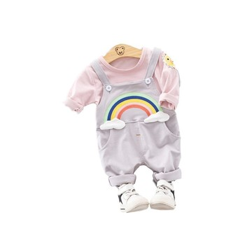 Spring Autumn Children Clothing Sets Baby Girls Boys Clothes Suits Cotton Rainbow T-Shirt Pants 2Pcs/Sets Toddler Infant Costume iyeal newest 2018 spring autumn baby girls clothes sets denim jacket tutu dress 2 pcs kids suits infant children clothing set
