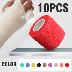 10pcs Security Protection Waterproof Self-adhesive Cshesive Bandages Elastic Wrap First Aid Sports Body Gauze Vet Medical Tape