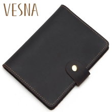 Vesna  Vintage Natural Crazy Horse Passport Cover Leather 100% Real Leather Drop Ship Men Genuine Leather Passport Case