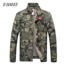 E-BAIHUI Men Camouflage Denim Jacket Slim Fit Camo Jean Jackets