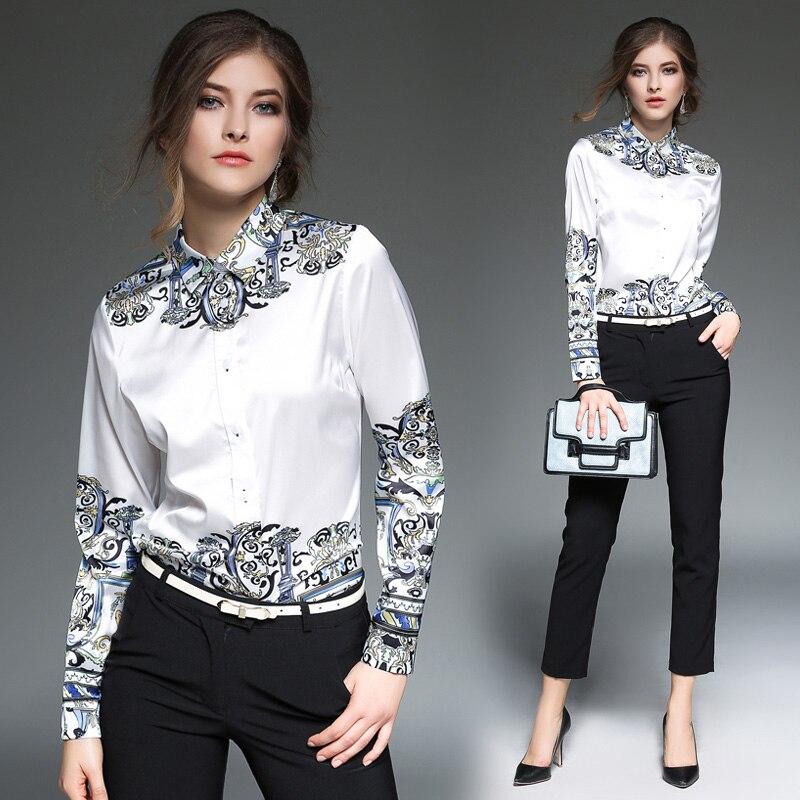 2019 printemps chemises à manches longues femmes hauts Blouses Vintage Chemise piste Blouse Blusa Femininas Chemise Femme Manche