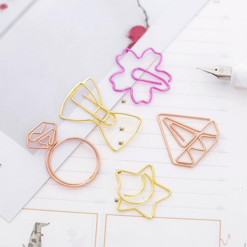 Japanese Different Shape Metal  Paper Clip Metal Material Office Stationery And School Supplies 5PCS/Bag