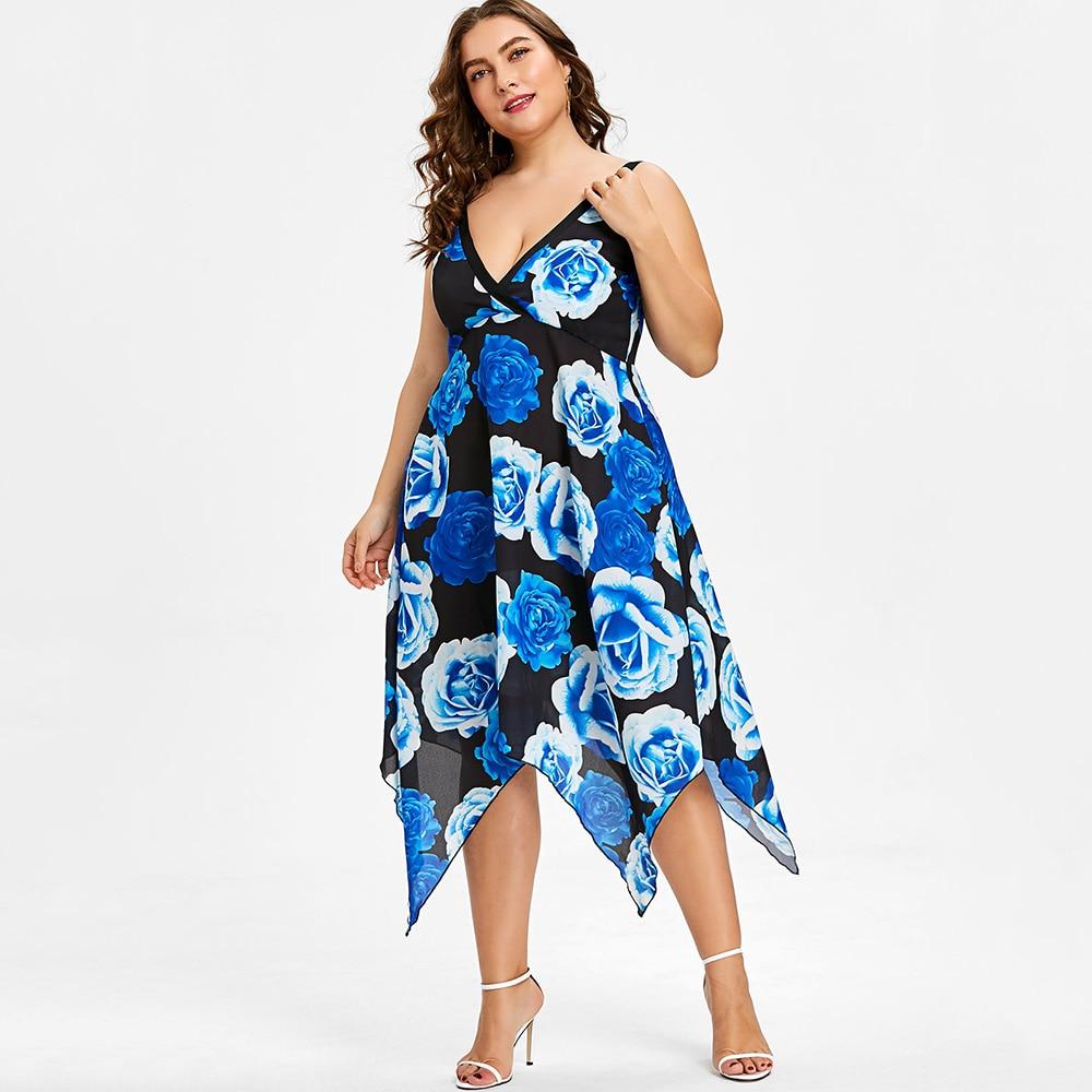 0a684bd9f9c STYLE Plus Size Floral Empire Waist Handkerchief Dress Summer Deep V Neck  Sleeveless Flower Women Asymmetrical Dress Robe-in Dresses from Women s  Clothing ...