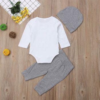 Newborn Baby Boy 3PCS Set Long Sleeve Cotton Romper