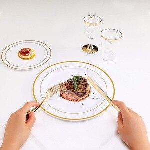 Image 4 - Vàng Dùng Một Lần Ô Món Tráng Miệng/Món Khai Vị đĩa với Viền Vàng Thực Trung Quốc Nhìn cho Đám Cưới, Các Đảng Phái, phục vụ ăn uống, Sinh Nhật